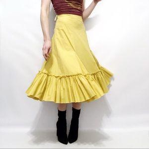 Anthropologie Fei Yellow Ruffle-Hem Prairie Skirt